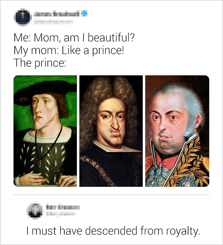 Face - Me: Mom, am I beautiful? My mom: Like a prince! The prince: I must have descended from royalty.