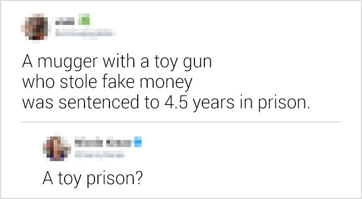 Text - mugger with a toy gun who stole fake money was sentenced to 4.5 years in prison. A toy prison?