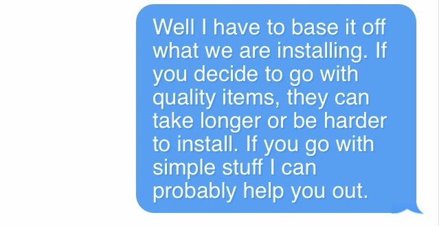 Infuriating text-message story about someone who demands more expensive materials in their bathroom renovation for no extra charge