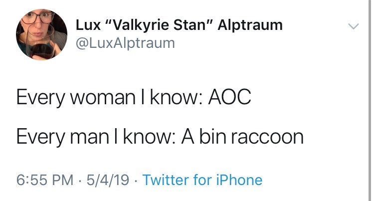 """Text - Lux """"Valkyrie Stan"""" Alptraum @LuxAlptraum Every woman I know: AOC Every man I know: A bin raccoon 6:55 PM 5/4/19 Twitter for iPhone"""