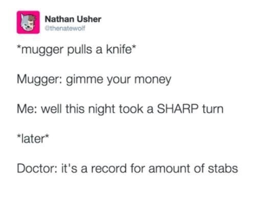 meme about an encounter with a mugger