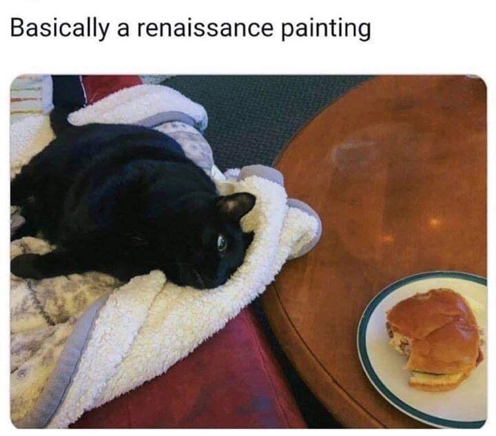 meme of a dog asleep next to a burger