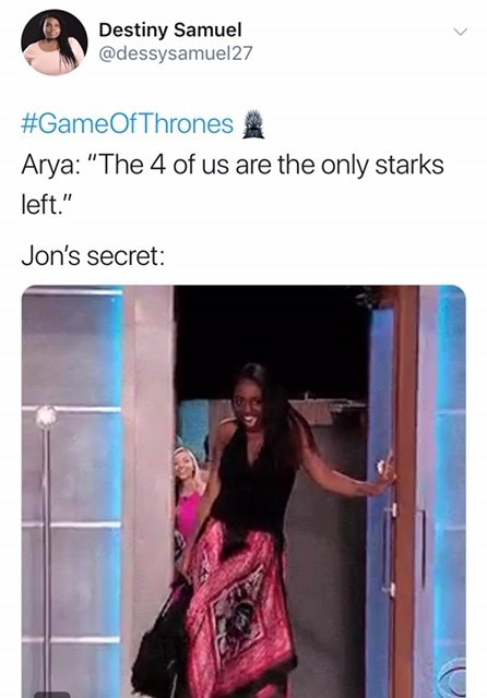 'Game of Thrones' Season 8 Episode 4: Arya: The 4 of us are the only starks left, jon's secret opening door.