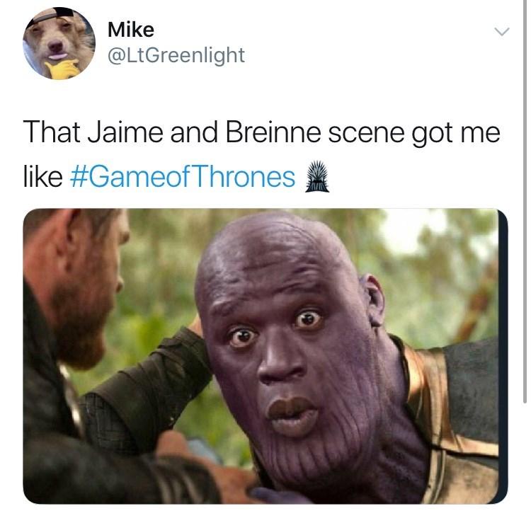 "'Game of Thrones' Season 8 Episode 4: Shaq Thanos ""That Jaime and Brienne scene got me like #GameofThrones"