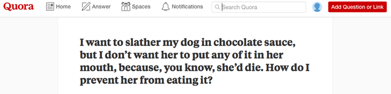 Text - Quora a Search Quora Home Answer Spaces Notifications Add Question or Link I want to slather my dog in chocolate sauce, but I don't want her to put any of it in her mouth, because, you know, she'd die. How do I prevent her from eating it?