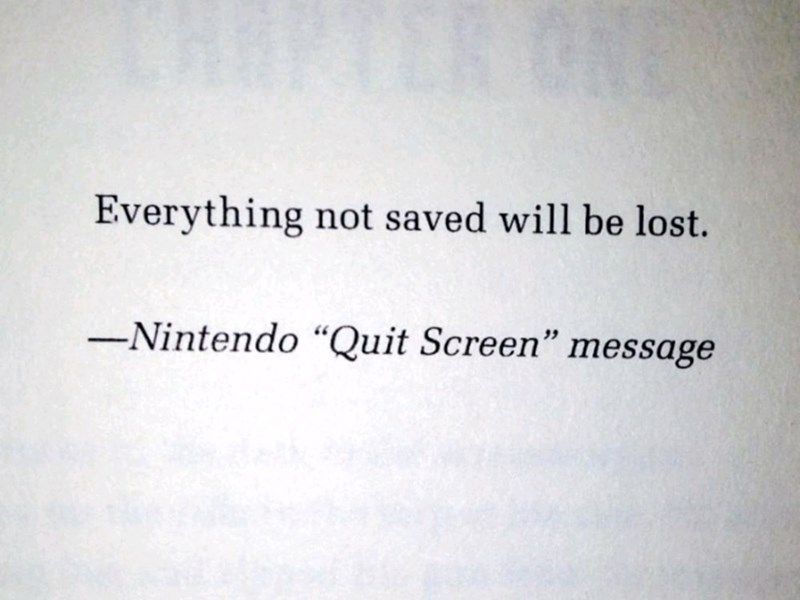 "Text - Everything not saved will be lost. -Nintendo ""Quit Screen"" message"
