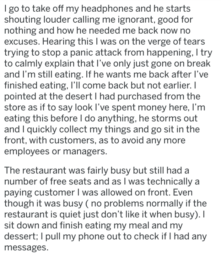 screenshot of text from reddit about guy destroying restaurant
