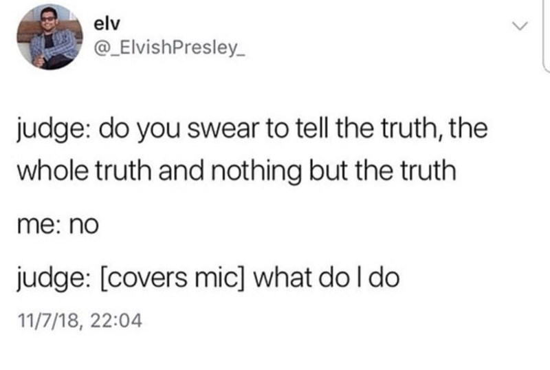 Text - elv @_ElvishPresley judge: do you swear to tell the truth, the whole truth and nothing but the truth me: no judge: [covers mic] what do I do 11/7/18, 22:04