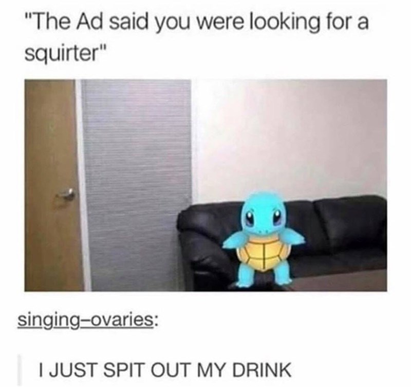 """Product - """"The Ad said you were looking for squirter"""" singing-ovaries: I JUST SPIT CUT MY DRINK"""
