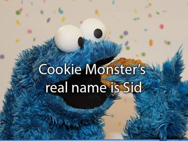 "Text that reads, ""Cookie Monster's real name is Sid"""