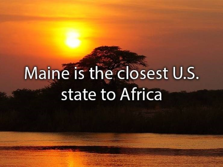 "Text that reads, ""Maine is the closest US state to Africa"""