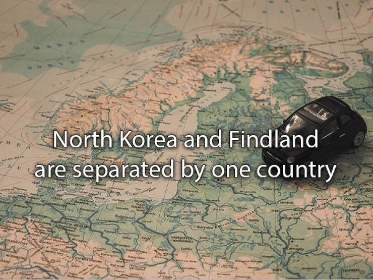 "Text that reads, ""North Korea and Finland are separated by one country"""