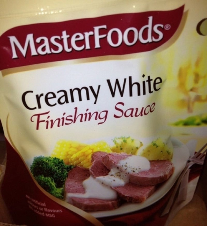 """Funny photo of a bag of frozen food labeled """"Creamy white finishing sauce"""""""
