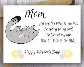 Text - mom. you are the litter to my box. the string to my soul the (ove of my life NOW PUT FOOD IN MY BOWL Happy mother's Day!
