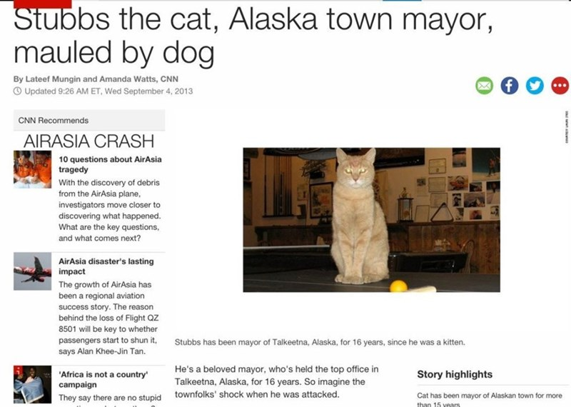 Text - Stubbs the cat, Alaska town mayor, mauled by dog By Lateef Mungin and Amanda Watts, CNN OUpdated 9:26 AM ET, Wed September 4, 2013 CNN Recommends AIRASIA CRASH 10 questions about AirAsia tragedy With the discovery of debris from the AirAsia plane, investigators move closer to discovering what happened. What are the key questions, and what comes next? AirAsia disaster's lasting impact The growth of AirAsia has been a regional aviation success story. The reason behind the loss of Flight QZ