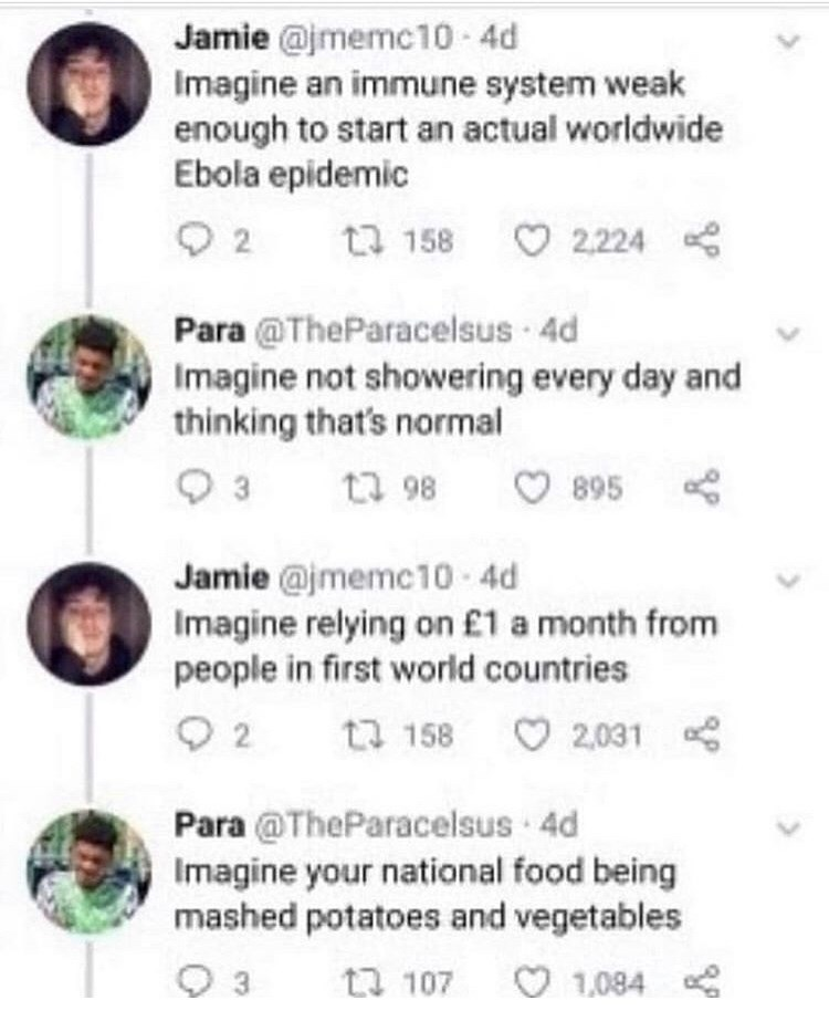 Text - Jamie @jmemc10 4d Imagine an immune system weak enough to start an actual worldwide Ebola epidemic 2 2,224 ta 158 Para @TheParacelsus 4d Imagine not showering every day and thinking that's normal t 98 895 3 Jamie @jmemc10-4d Imagine relying on £1 a month from people in first world countries 2 t 158 2,031 Para @TheParacelsus 4d Imagine your national food being mashed potatoes and vegetables 3 1,084 ta 107