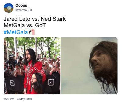 People - Ooops marmol 88 Jared Leto vs. Ned Stark MetGala vs. GoT #MetGala M