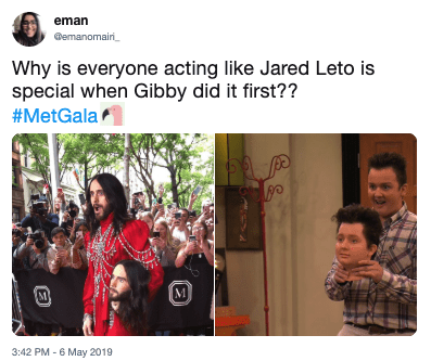 People - eman emanomairi Why is everyone acting like Jared Leto is special when Gibby did it first?? #MetGala