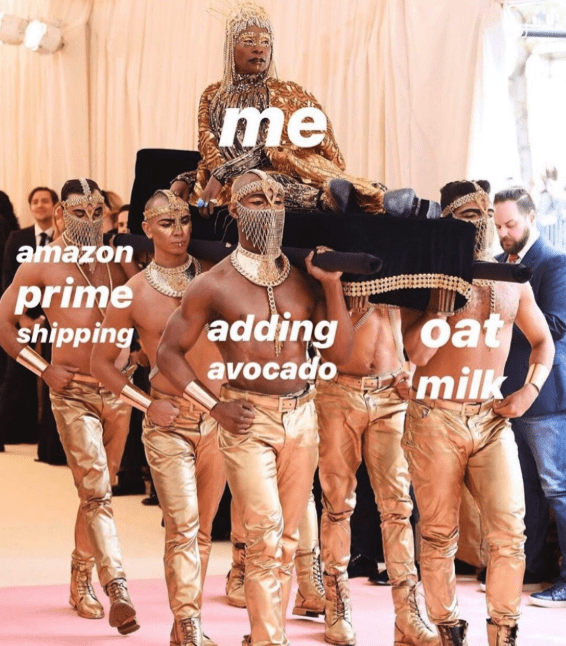 Barechested - me amazon prime shipping adding avocado oat milk