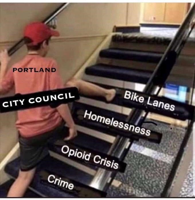 "Funny ""Skipping Steps"" meme about Portland's city council not addressing crucial problems"