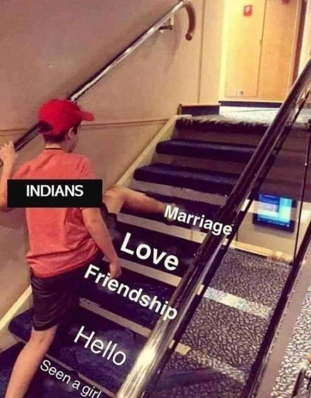 "Funny ""Skipping Steps"" meme about Indian people who seek out wives online"