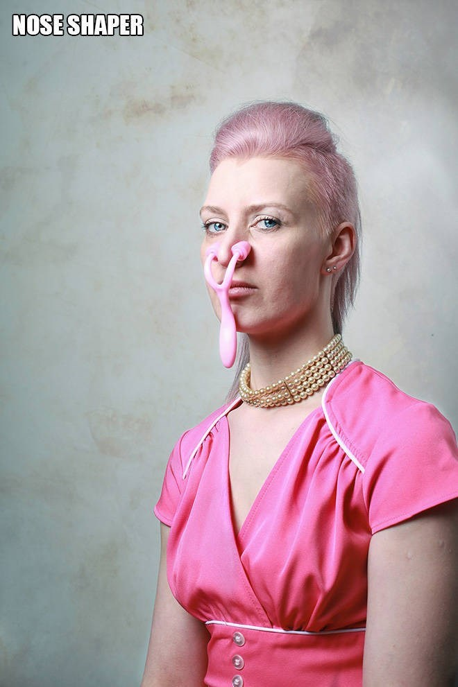 """Funny pic of a woman modeling a """"nose shaper"""""""