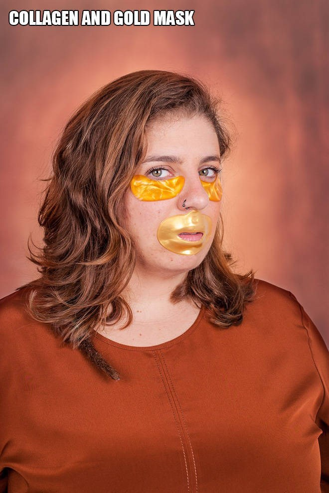 """Funny pic of a woman modeling a """"collagen and gold mask"""""""