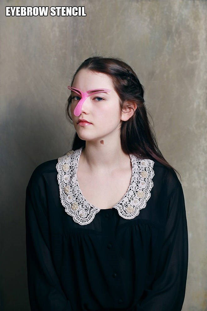 """Funny pic of a woman modeling an """"eyebrow stencil"""""""