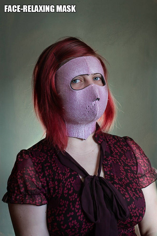 """Funny pic of a woman modeling a """"face-relaxing mask"""""""