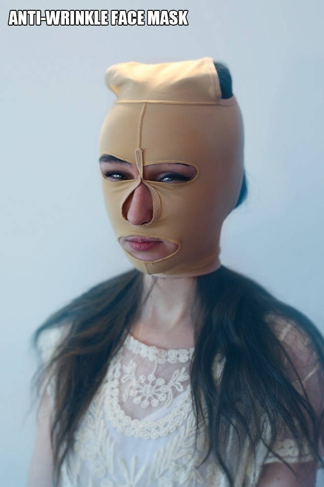 """Funny pic of a woman modeling an """"anti-wrinkle face mask"""""""