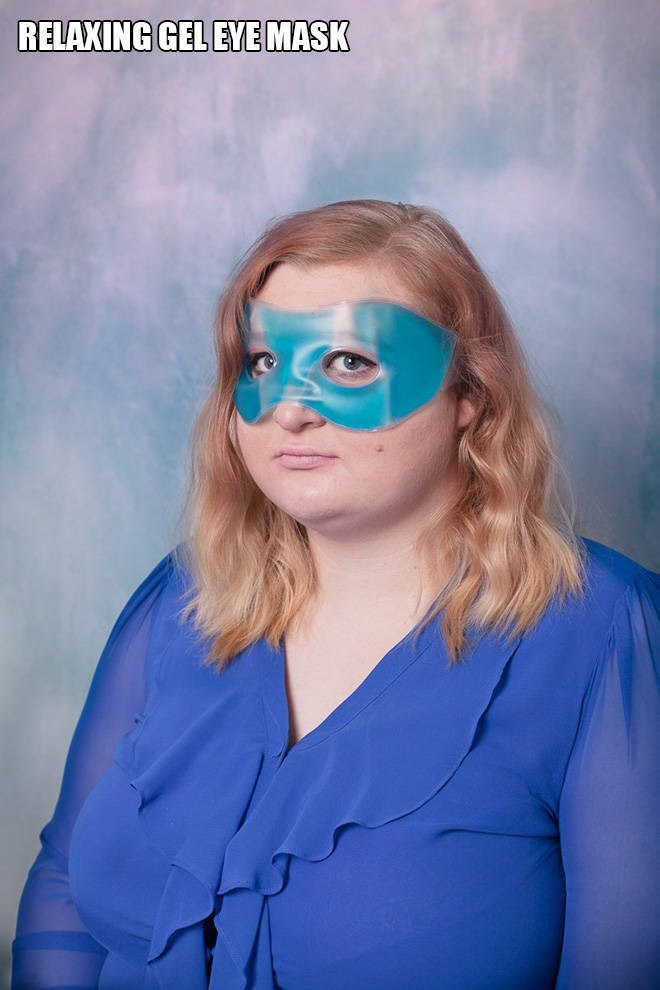 """Funny pic of a woman modeling a """"relaxing gel eye mask"""""""