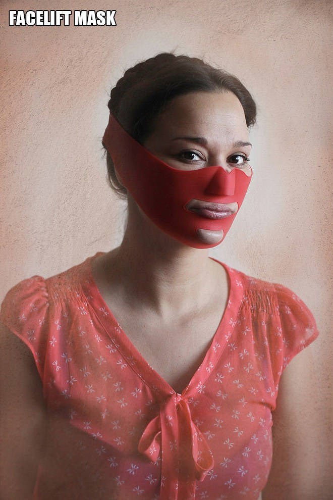 """Funny pic of a woman modeling a """"facelift mask"""""""