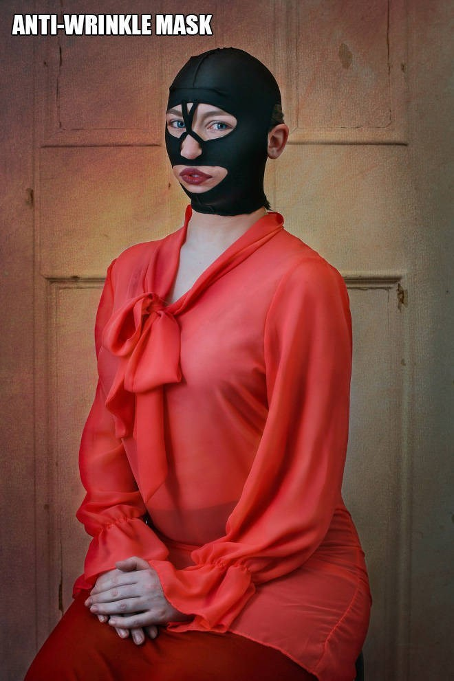 """Funny pic of a woman modeling an """"anti-wrinkle mask"""""""