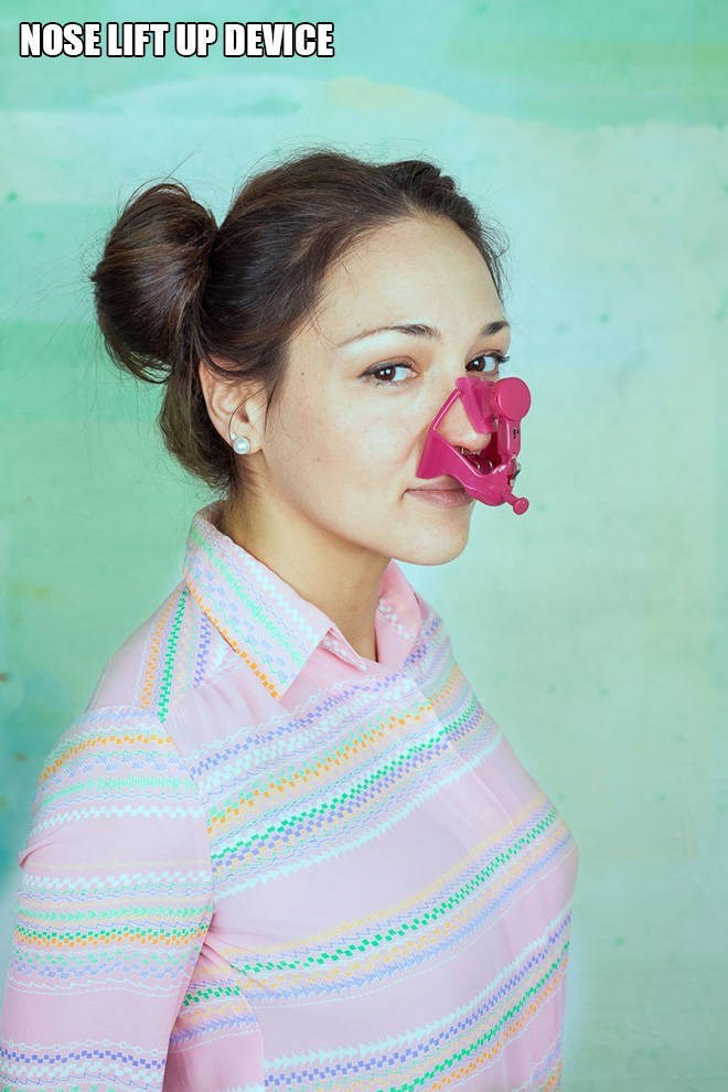 """Funny pic of a woman modeling a """"nose lift-up device"""""""