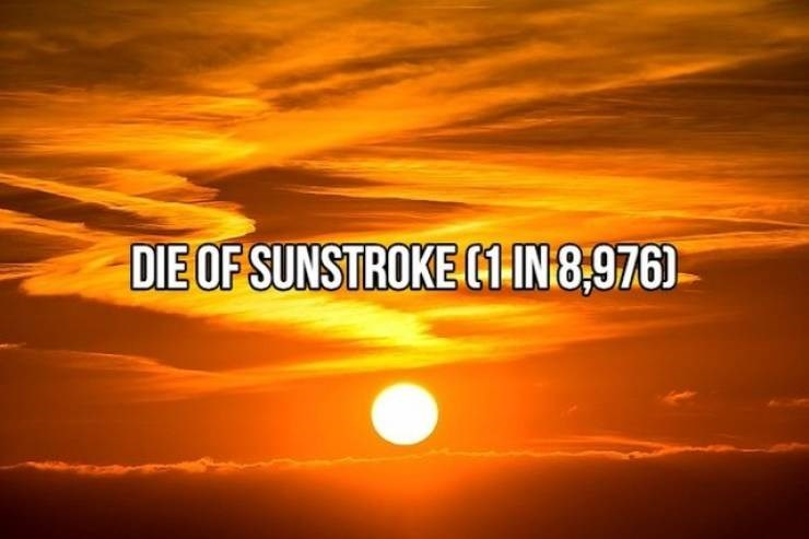 """Text that reads, """"Die of sunstroke (1 in 8,976)"""""""