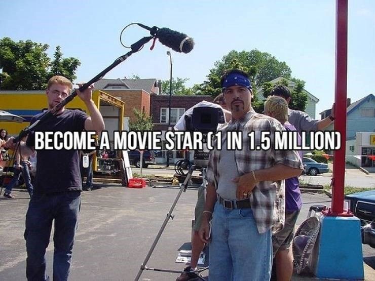 """Text that reads, """"Become a movie star (1 in 1.5 million)"""""""