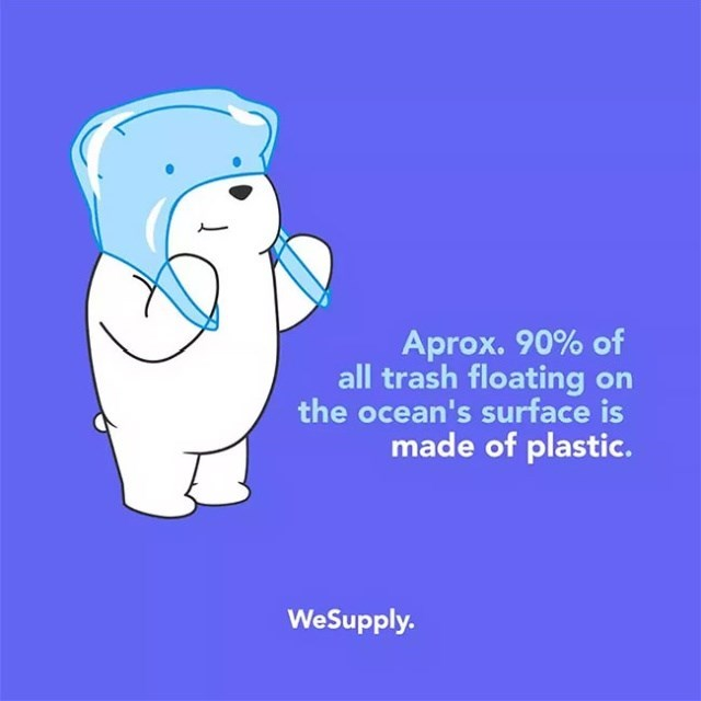 Cartoon - Aprox. 90% of all trash floating on the ocean's surface is made of plastic. WeSupply.