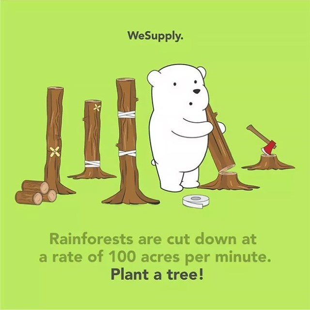 Cartoon - WeSupply. Rainforests are cut down at a rate of 100 acres per minute. Plant a tree!