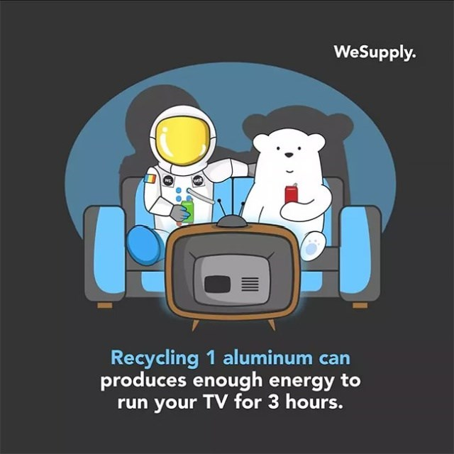 Text - WeSupply. Recycling 1 aluminum can produces enough energy to run your TV for 3 hours.