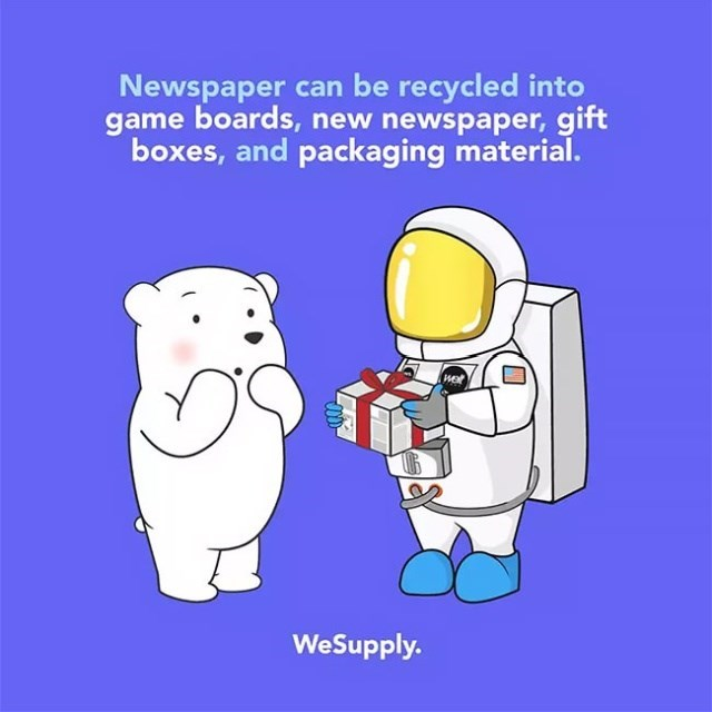 Cartoon - Newspaper can be recycled into game boards, new newspaper, gift boxes, and packaging material. WeSupply.