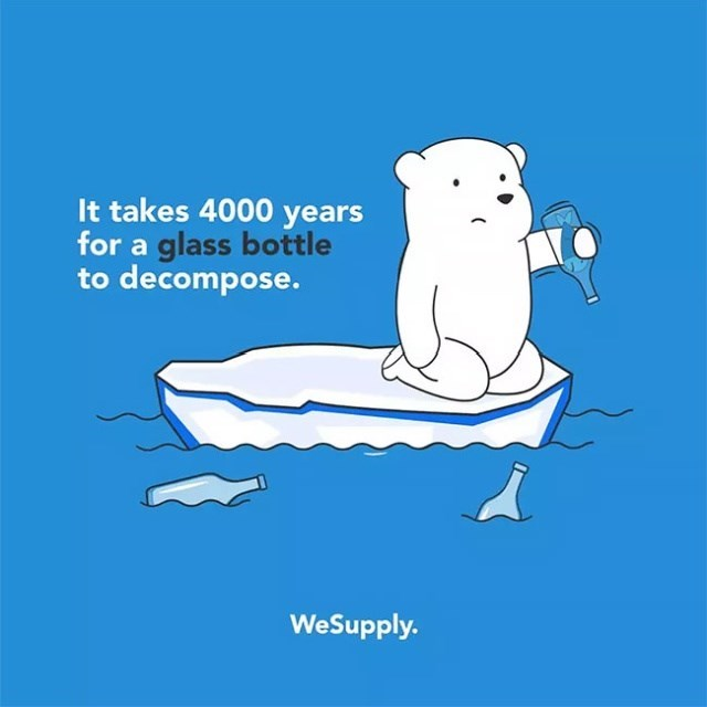 Cartoon - It takes 4000 years for a glass bottle to decompose. WeSupply.