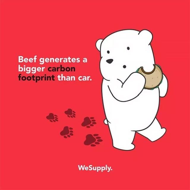 Cartoon - Beef generates a bigger carbon footprint than car. WeSupply.