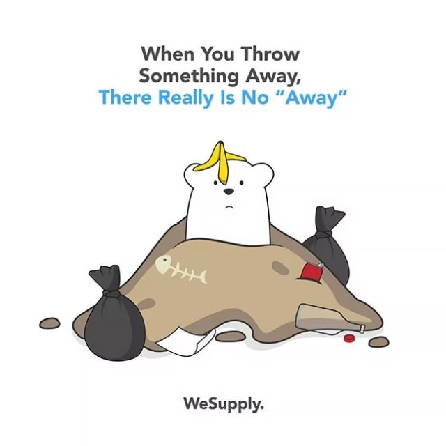 """Cartoon - When You Throw Something Away, There Really Is No """"Away"""" WeSupply."""