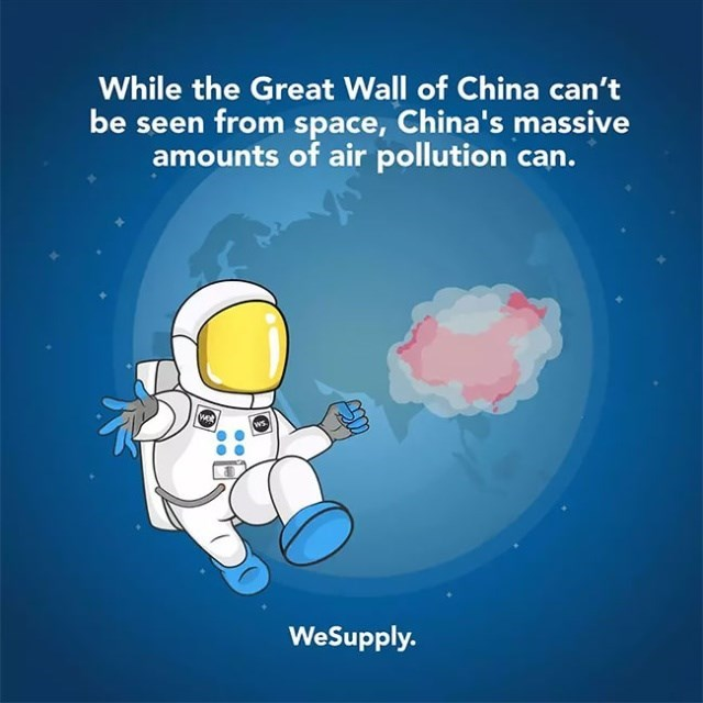 Text - While the Great Wall of China can't be seen from space, China's massive amounts of air pollution can. wet WeSupply.