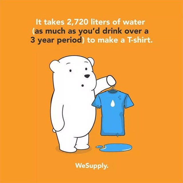 Text - It takes 2,720 liters of water (as much as you'd drink over a 3 year period) to make a T-shirt. WeSupply.