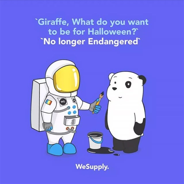 Cartoon - Giraffe, What do you want to be for Halloween? No longer Endangered ws. WeSupply