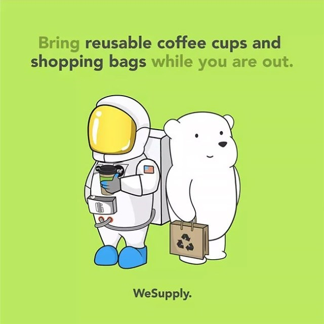 Cartoon - Bring reusable coffee cups and shopping bags while you are out. WeSupply.