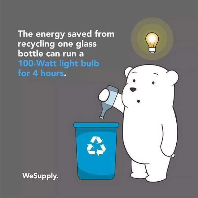 Cartoon - The energy saved from recycling one glass bottle can run a 100-Watt light bulb for 4 hours. WeSupply.