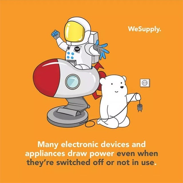 Cartoon - WeSupply. Many electronic devices and appliances draw power even when they're switched off or not in use.