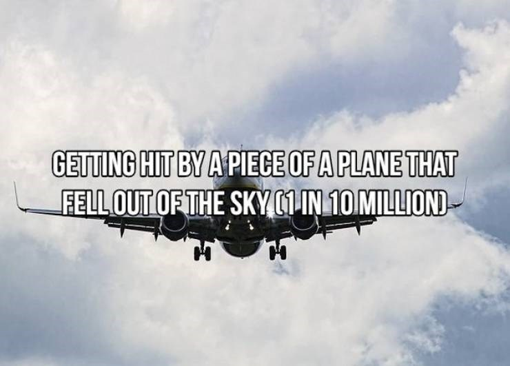 Air travel - GETTING HIT BY A PIECE OF A PLANE THAT FELLOUT OF THE SKY1IN 10 MILLIOND